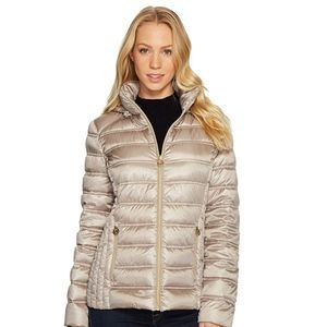 M823157C packable taupe brown puffer jacket hood